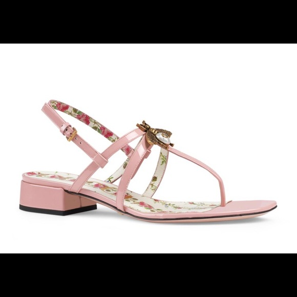 c6bb7143b070  Today only  Gucci Patent Leather Bee Sandals